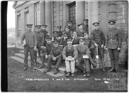 Mess Orderlies A&B Cos., 12th Hants, Rink Bath No.20 c.April 1915