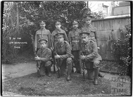7 of the Boys, 12th Hants, Bath, c.April 1915