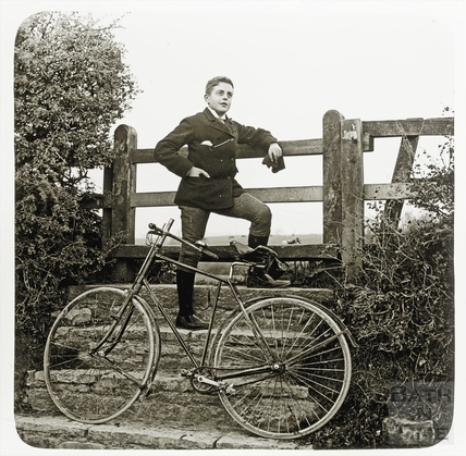 A young unidentified cyclist c.1892