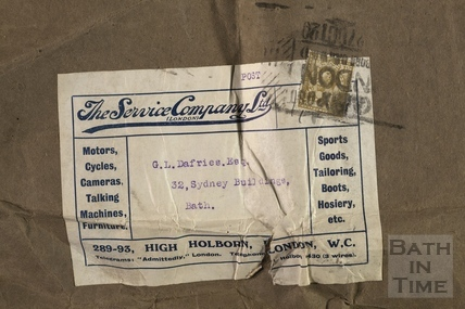 The wrapper from a consignment of photographic materials to George Love Dafnis c.1910