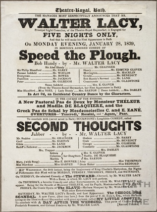 Playbill at Theatre Royal, Bath for January 28 1839