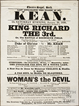 Playbill at Theatre Royal, Bath for January 26 1839