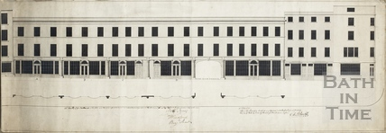 Elevation & plan of south side of Cheap Street showing shop fronts 1790