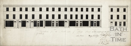 Elevation & plan for the North side of Cheap Street, showing shop fronts 1790