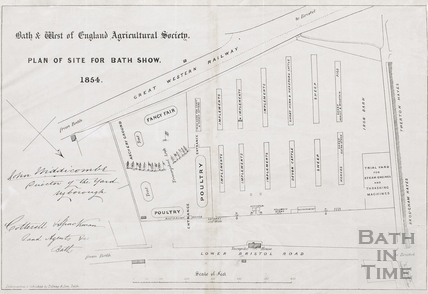Plan of the site for the Bath & West of England Agricultural Society, Bath show 1854