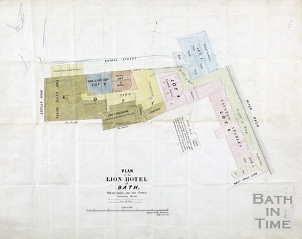 Plan of Lion Hotel at Bath (White Lion Hotel), Bridge Street), Dec 1852