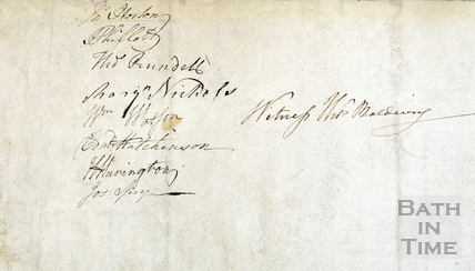 Signatures on the reverse of the Design for the principal front of the new intended private baths and dry pump rooms (Stall Street entrance) 1780s