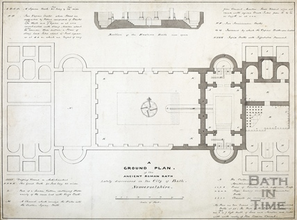 Plan of the ancient Roman Baths discovered 1756