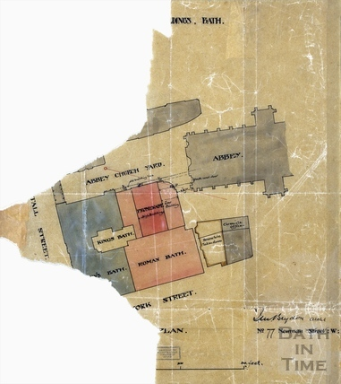 Plan showing the surrounding buildings to the Roman Baths 1880s