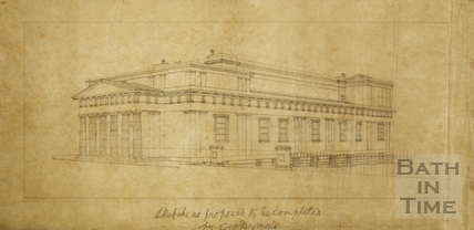 Illustration of the Bath Royal Literary and Scientific Institute - the 'Institution' - draft sketch of #92 - Charles W Dymond 1889