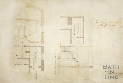 Plan for a proposed new staircase on the Literary Institution (sections and plans) (BRLSI) 1839