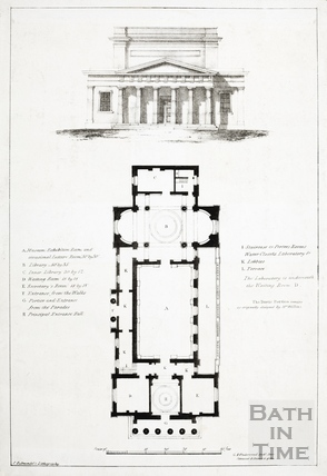 Bath Royal Literary and Scientific Institute, BRSLI - engraving of portico and plan of ground floor - G A Underwood, architect c.1830s?