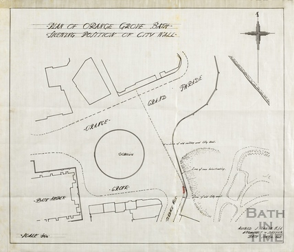 Plan of Orange Grove showing position of City Wall - Alfred J Taylor June 4 1913