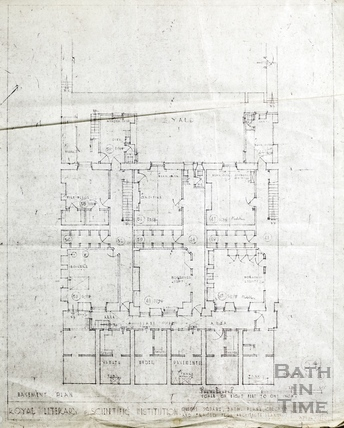 Bath Royal Literary and Scientific Institution BRSLI - Queen Square plans copied from architects originals - basement - no.1 April 1940