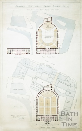 Proposed City (Concert) Hall, Grand Parade - ground, mezzanine & first floor plans - A J Taylor c.1930s?
