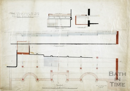 Proposed new vaults under York Street, south side of rectangular Roman Bath - sections and plan c.1890