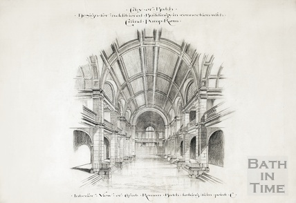 Design for additional buildings in connection with Grand Pump Room - interior view of Great Roman Bath with roof 1894