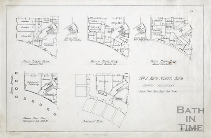 7 Bath Street, proposed alterations - basement, ground, 1st, 2nd & 3rd floor plans of nurse's accommodation & labs - AJ Taylor 1922