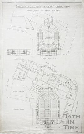 Proposed city (concert) hall, Grand Parade - first floor & mezzanine plan - ground floor including Guildhall & Technical Schools - AJ Taylor 1930s