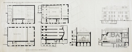 Plans of the Masonic Hall, Orchard Street, formerly the Theatre Royal in the 18th Century (also sections and elevation) 1950