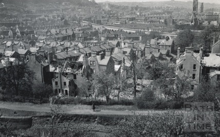 View of bomb damaged buildings in Widcombe, Bath 1942
