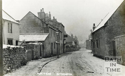 Northend, Batheaston in the snow, with the Northend Inn on the left c.1920s