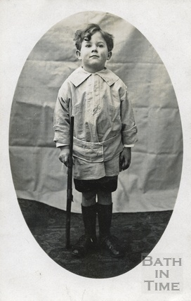 Rupert, one of the photographers twin boys, pretending to be a soldier c.1918