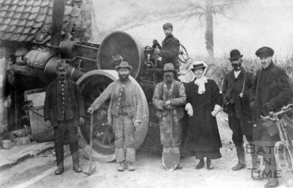 A steam lorry after it has crashed into the Grove Tavern, Padleigh Bottom in Englishcombe March 18th 1909
