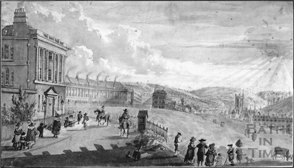 The Lower Crescent, Bath from the West end'. The Royal Crescent, viewed from the west 1797