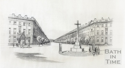 Traced sketch of Laura Place with proposed cross and war memorial in place of fountain [1920s]