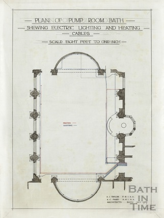 Plan of Pump Room Bath showing electric lighting and heating cables - AJ Taylor & AC Fare July 1929