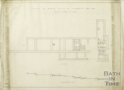 Survey of Roman Villa at Atworth [Wilts] - section & plan - AJ Taylor & AC Fare July 1938