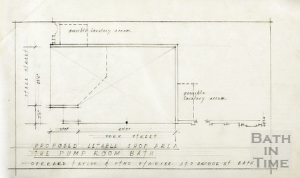 Proposed letable shop area, Pump Room [Stall Street] - [ground floor] plan - Gerrard, Taylor & Partners [1950s?]