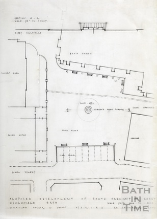 Proposed development of south precinct of Abbey Churchyard - section, plan - Gerrard, Taylor & Partners [1950s?]