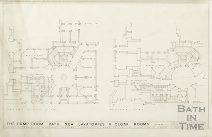 Pump Room - new lavatories & cloakrooms - basement & ground floor plan -Scheme 2 - AJ Taylor & Partners 20 February 1946