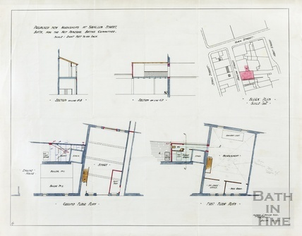 Proposed new workshops at Swallow Street for Hot Mineral Baths Cttee - sections, plans, block plan - AJ Taylor Oct 1911