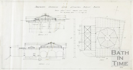 Propsed covering over Kingston Baths - sections and plan - AJ Taylor around-1923