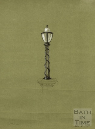 Lamp standard metalwork for lamp mounted on stone pedestal - possibly rpoposed for Grand Parade - F & C Usler, London 1890s?