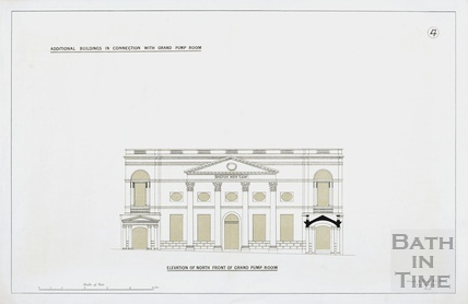 Additional buildings in connection with Grand Pump Room - no.4, elevation of north front - Charles E Davis 1880s