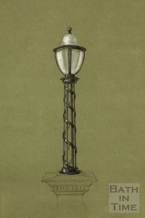 Lamp standard metalwork for lamp mounted on stone pedestal - possibly proposed for Grand Parade - F. & C. Usler, London 1890s? - detail