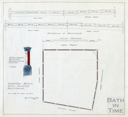 Kingston Baths - proposed balustrade - elevation, plan, section - AJ Taylor around-1923
