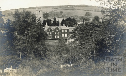View of the rear of Pine House and the Church, Northend Batheaston, with Little Solsbury in the background c.1908