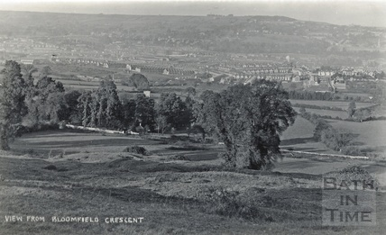 View from Bloomfield Crescent of an emerging Oldfield Park, Bath, c.1910