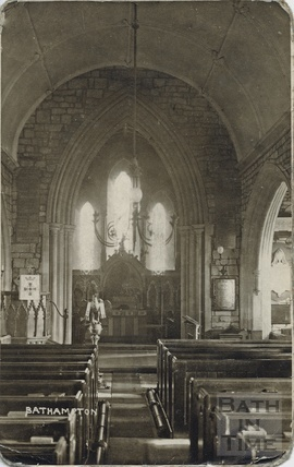 Inside St Nicholas Church, Bathampton c.1910