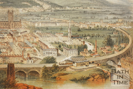 Bath from Beechen Cliff colored view c.1875 - detail