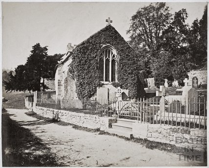 View showing east window, Charlcombe Church c.1855