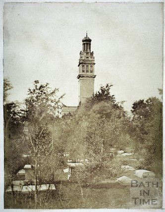 Beckford's Tower and cemetery, Lansdown, Bath c.1855