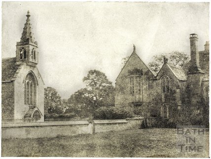 North elevation and part of chapel, Great Chalfield Manor c.1858