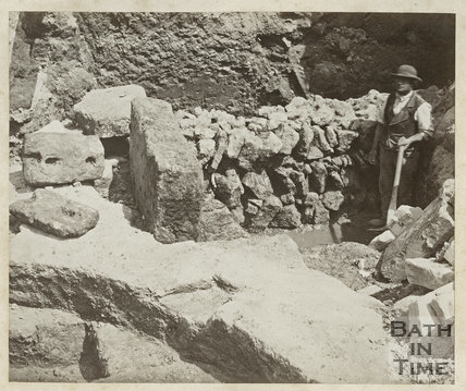 Excavations in Progress, Roman baths, Bath c.1880