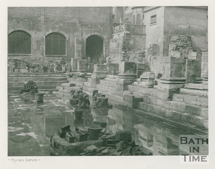 Corner showing bases of columns, Roman Baths, Bath c.1900